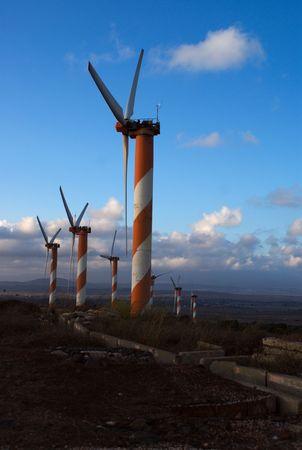 golan: green energy - wind turbine in golan heights Stock Photo