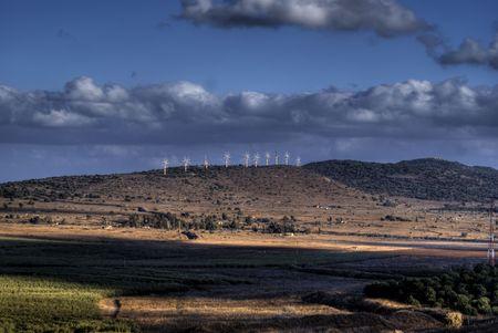 golan: Israel landscape, scenic view on golan heights near Syria border
