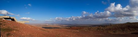 golan: Israel landscape panorama , scenic view on golan heights near Syria border