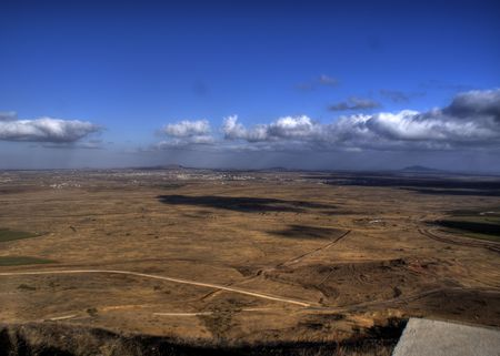golan: Israel  military fortification on golan heights near Syria border Stock Photo