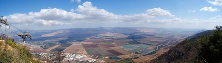 Israel landscape panorama , scenic view on golan heights near Syria border Stock Photo