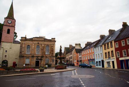 Walking in small scotland town of Jedburgh photo