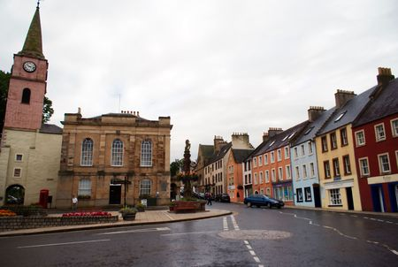 Walking in small scotland town of Jedburgh Stock Photo