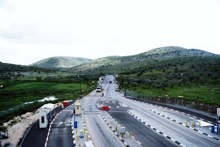 Israeli check post on palestinian territories photo