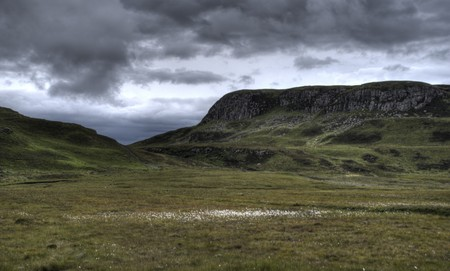 clan: nature and landscape of skye island in scotland - hiking for tourists Stock Photo