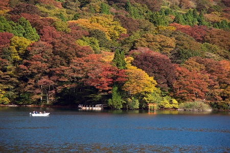 Ashi lake in Hakone, Japan at autumn tourism season Stock Photo