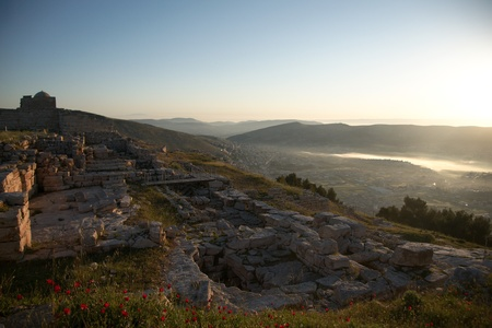 Ruins on holy mount Gerizim of Samaritans in Israel territory