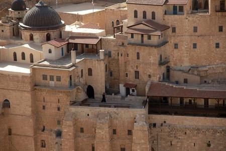 holyland: marsaba orthodox monastery in judean desert - israel tourism Stock Photo