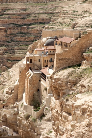holyland: travel at spring in judean desert for hermits caves and monk monastery
