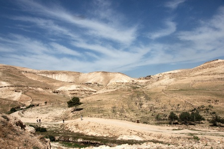 judean: travel at spring in judean desert for hermits caves and monk monastery