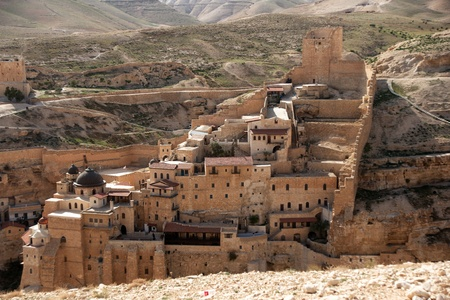 marsaba orthodox monastery in judean desert - israel tourism Stock Photo