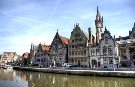 Belgium old city Ghent - architecture, churches and canals
