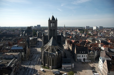 flemish: Belgium old city Ghent - architecture, churches and canals
