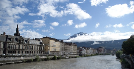 Grenoble city in France Alps mountains photo
