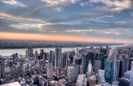 Bird eye view to new york from skyscrapper attraction Stock Photo