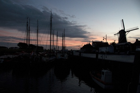 Sky and channel in sunset of Zeeland travel