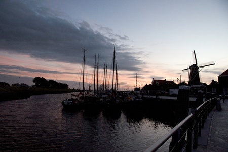 holand: Sky and channel in sunset of Zeeland travel