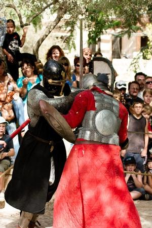 crusaders: Knigts in medieval show of crusaders in Jerusalem