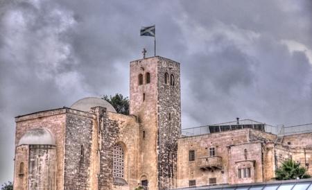 Jerusalem old city monastery under dramatic sky