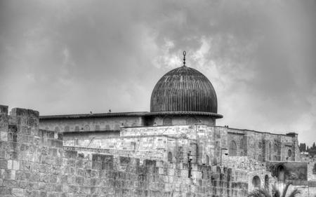 Temple mount Al Aqsa mosque and old city jerusalem walls photo