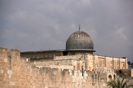 Temple mount Al Aqsa mosque and old city jerusalem walls photo