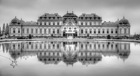 Palace in water reflection autumn travel europe tourism