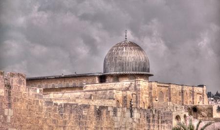 Temple mount Al Aqsa mosque and old city jerusalem walls Stock Photo