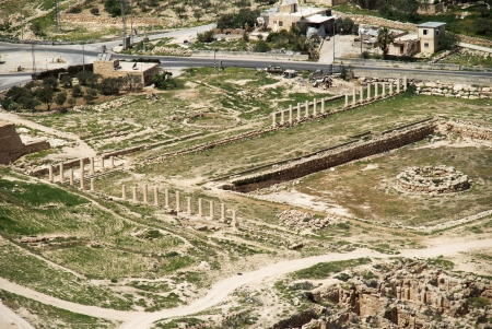 Archeology and history national park with spring landscape in Israel photo