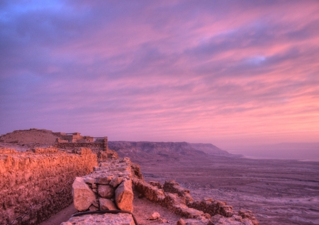 Masada fortress and Dead sea sunrise in Israel judean desert tourism photo