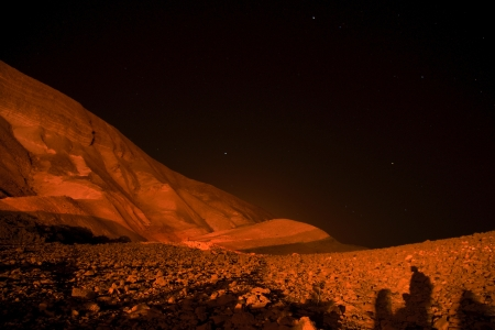 Night and mapling light in judean desert of Israel photo