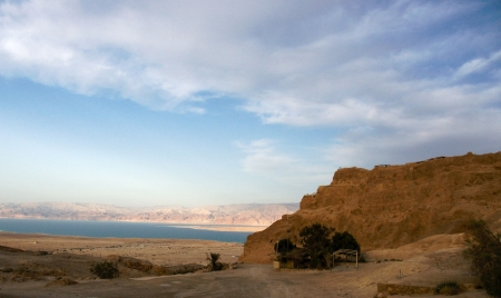 Masada and Dead sea in Israel photo