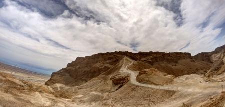 Masada fortress and king Herod's palace in Israel judean desert travel photo