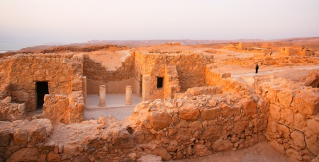 Masada fortress and Dead sea sunrise in Israel judean desert tourism photo