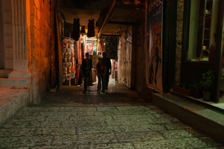 Night view of jerusalem streets photo