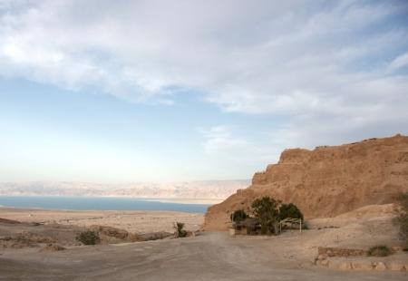 masada: Masada and Dead sea in Israel Stock Photo