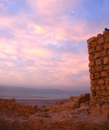 sea sunrise in Israel judean desert tourism photo