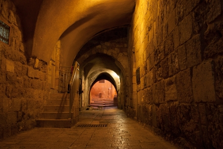 Night view of jerusalem streets Stock Photo