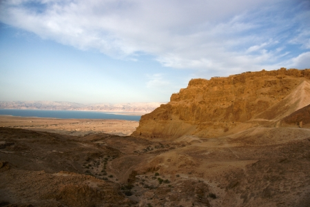Masada and Dead sea in Israel travel world heritage site photo