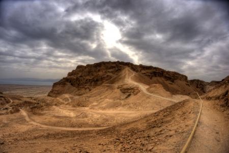 masada: Masada fortress and king Herods palace in Israel judean desert travel
