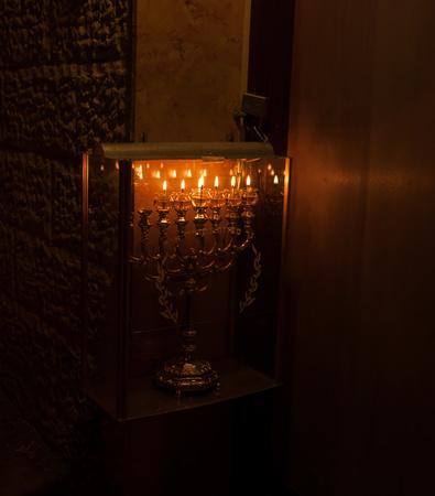shearim: Celebrating Chanuka jewish holiday in Mea Shearim jerusalem Neighborhood Stock Photo