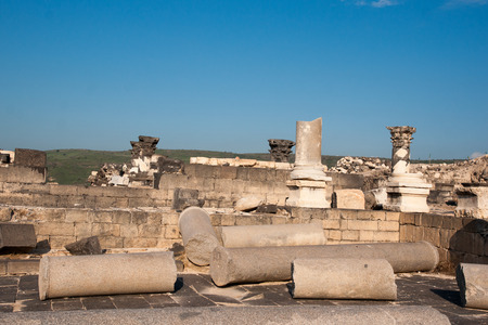 mideast: Israeli national park with anchient ruins and  archaeological excavation Stock Photo
