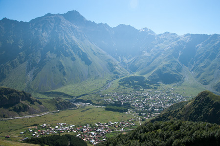 kavkaz: Georgia villages in mountain with guesthouses and market