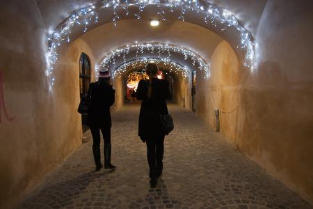 newyear night: Romania winter vacation beautiful night travel