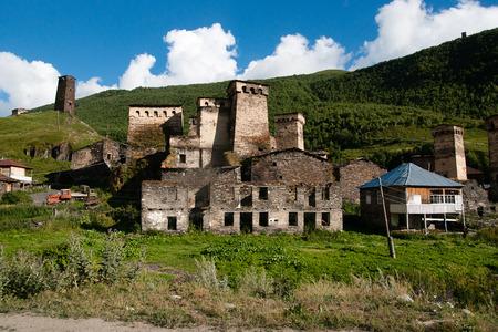 ushguli: Ushguli high mountain village with towers - tourists destination