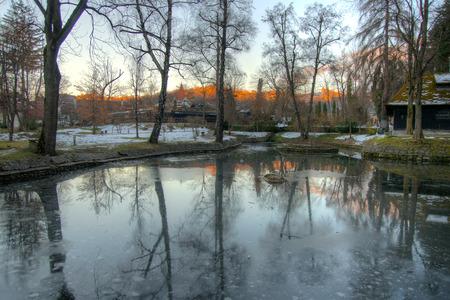 bran: Winter romantic sunset in Bran, Romania during winter vacation