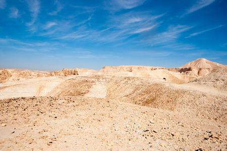 negev: Stone desert tourism hiking in mountains under blue sky