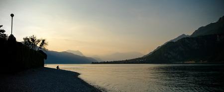 lago: Romantic view  on lago como sunset in summer Stock Photo