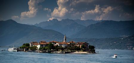 borromeo: Romantic view on Isola dei Pescatori island on lago maggiore Stock Photo