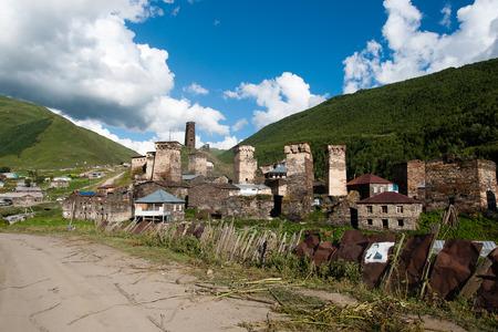 kavkaz: Ushguli high mountain village with towers - tourists destination