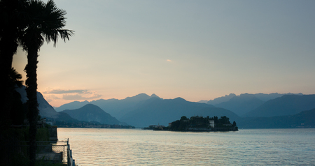 romantics: Romantic sunset on a lake in North Italy during summer vacation Stock Photo